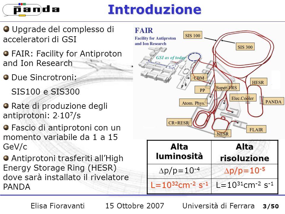 Studio del decadimento J/ + - Efficienza di ricostruzione: (50.2±0.3)% Valor medio della massa: 3.04 Gev/c 2 Risoluzione: 0.11 GeV Elisa Fioravanti 15 Ottobre 2007 Università di Ferrara 34/50