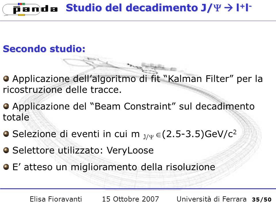 Studio del decadimento J/l + l - Secondo studio: Applicazione dellalgoritmo di fit Kalman Filter per la ricostruzione delle tracce.