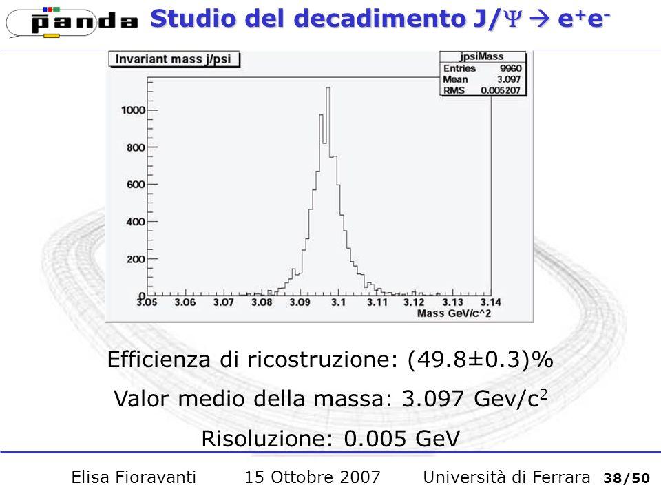 Studio del decadimento J/e + e - Efficienza di ricostruzione: (49.8±0.3)% Valor medio della massa: 3.097 Gev/c 2 Risoluzione: 0.005 GeV Elisa Fioravanti 15 Ottobre 2007 Università di Ferrara 38/50