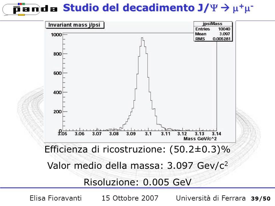 Studio del decadimento J/ + - Efficienza di ricostruzione: (50.2±0.3)% Valor medio della massa: 3.097 Gev/c 2 Risoluzione: 0.005 GeV Elisa Fioravanti 15 Ottobre 2007 Università di Ferrara 39/50