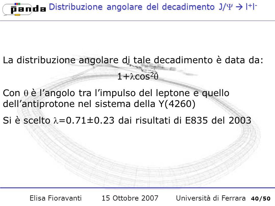 Distribuzione angolare del decadimento J/l + l - La distribuzione angolare di tale decadimento è data da: 1+cos 2 Con è langolo tra limpulso del leptone e quello dellantiprotone nel sistema della Y(4260) Si è scelto =0.71±0.23 dai risultati di E835 del 2003 Elisa Fioravanti 15 Ottobre 2007 Università di Ferrara 40/50