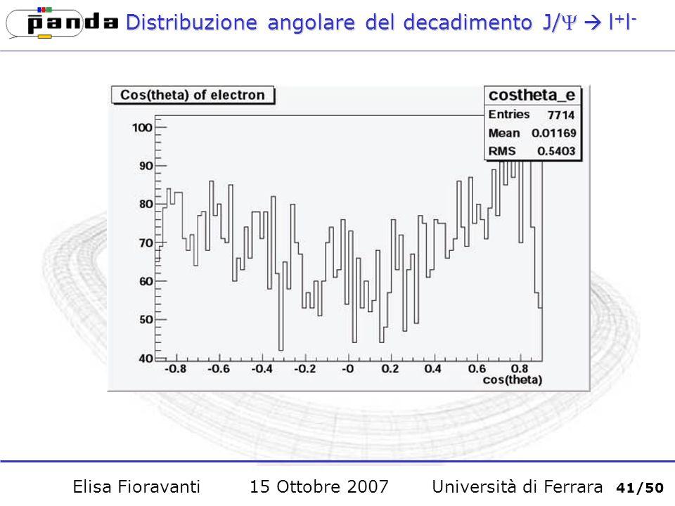 Distribuzione angolare del decadimento J/l + l - Elisa Fioravanti 15 Ottobre 2007 Università di Ferrara 41/50