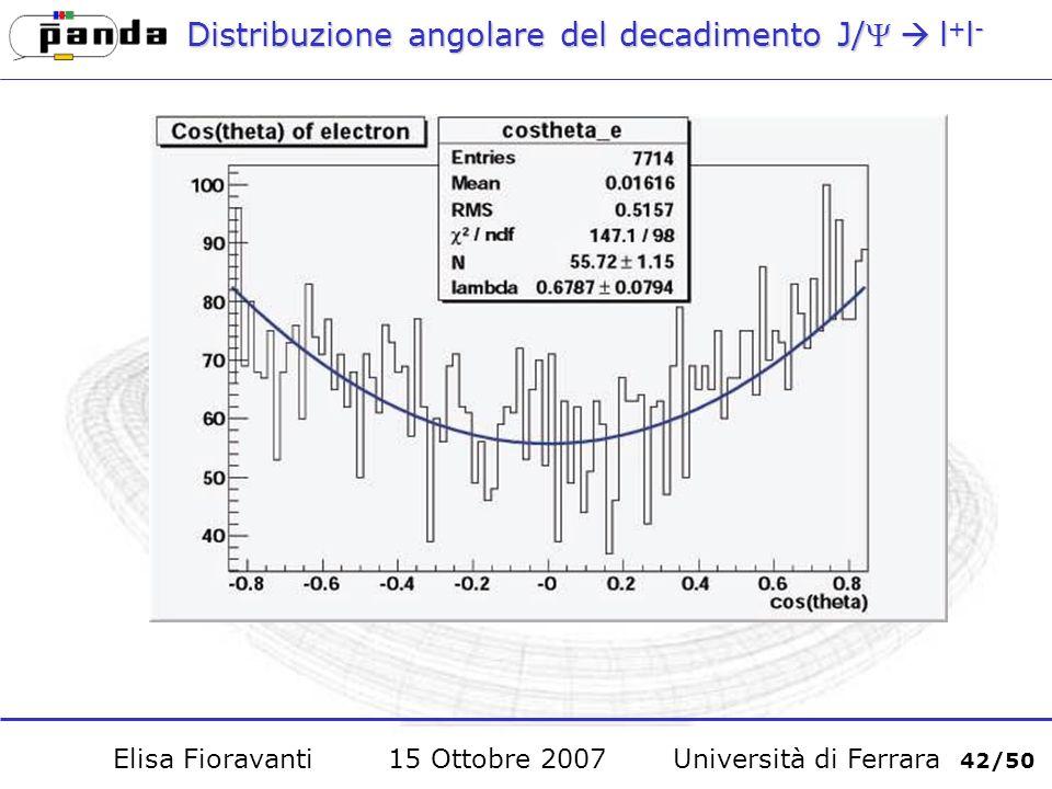 Distribuzione angolare del decadimento J/l + l - Elisa Fioravanti 15 Ottobre 2007 Università di Ferrara 42/50