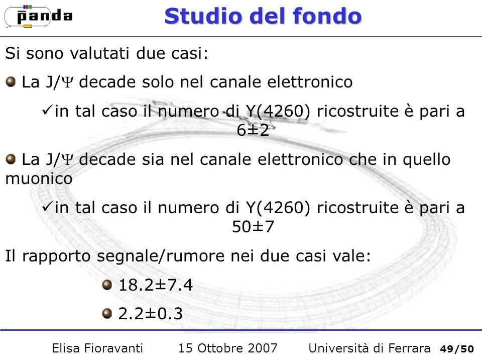 Studio del fondo Si sono valutati due casi: La J/ decade solo nel canale elettronico in tal caso il numero di Y(4260) ricostruite è pari a 6±2 La J/ decade sia nel canale elettronico che in quello muonico in tal caso il numero di Y(4260) ricostruite è pari a 50±7 Il rapporto segnale/rumore nei due casi vale: 18.2±7.4 2.2±0.3 Elisa Fioravanti 15 Ottobre 2007 Università di Ferrara 49/50