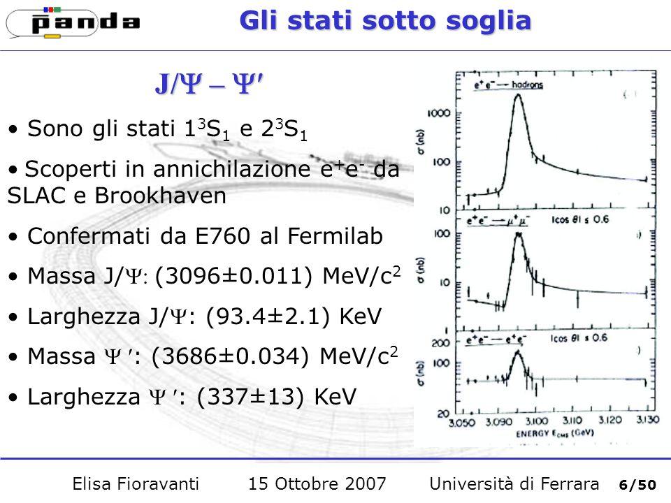Gli stati sotto soglia c c Stato fondamentale del charmonio: 1 1 S 0 Massa pari a (2980.4±1.2) MeV/c 2 Non può essere prodotto in annichilazione e + e - ma in annichilazione protone-antiprotone E possibile osservare il decadimento c Errore sulla stima della massa è ancora maggiore di 1 MeV e le misure delle larghezze hanno valori discordanti Elisa Fioravanti 15 Ottobre 2007 Università di Ferrara 7/50