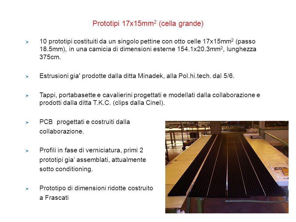 Prototipi 17x15mm 2 (cella grande) 10 prototipi costituiti da un singolo pettine con otto celle 17x15mm 2 (passo 18.5mm), in una camicia di dimensioni
