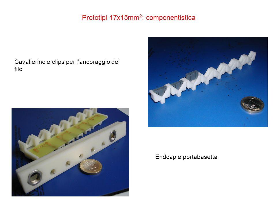 Prototipi 17x15mm 2 : componentistica Cavalierino e clips per lancoraggio del filo Endcap e portabasetta