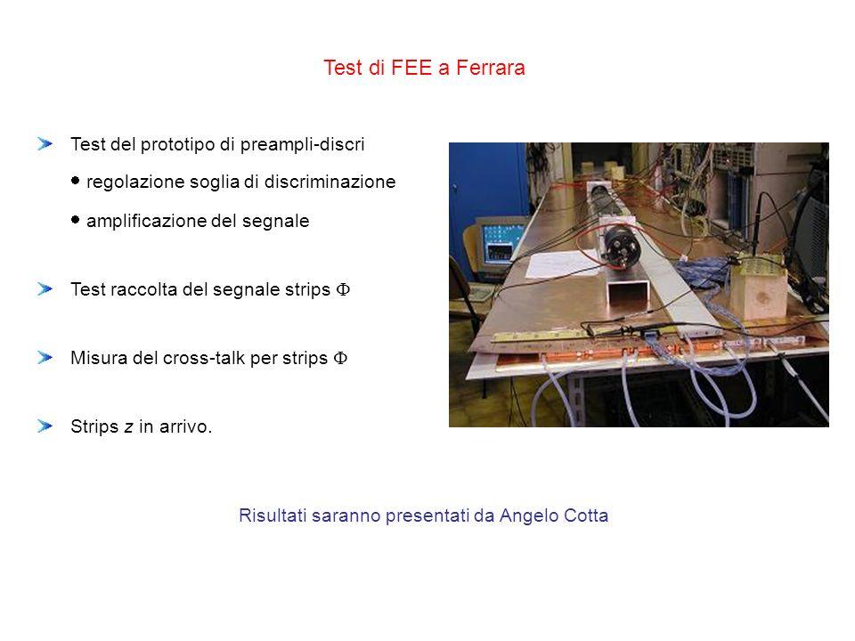 Test di FEE a Ferrara Test del prototipo di preampli-discri regolazione soglia di discriminazione amplificazione del segnale Test raccolta del segnale