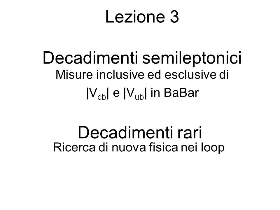 Lezione 3 Decadimenti semileptonici Misure inclusive ed esclusive di |V cb | e |V ub | in BaBar Decadimenti rari Ricerca di nuova fisica nei loop