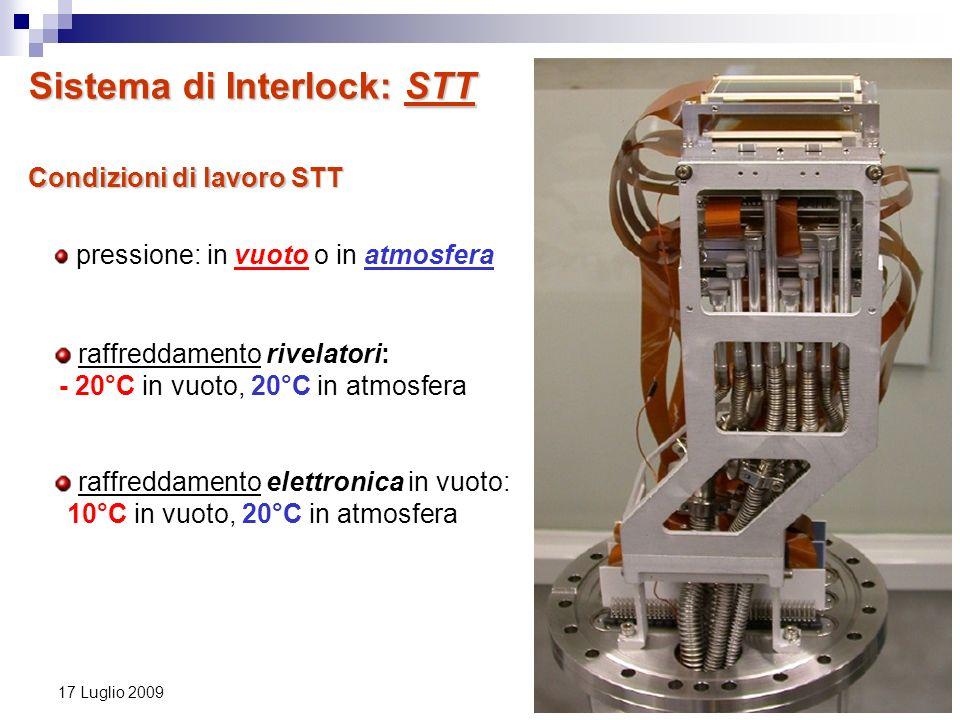 18 17 Luglio 2009 Condizioni di lavoro STT pressione: in vuoto o in atmosfera raffreddamento rivelatori: - 20°C in vuoto, 20°C in atmosfera raffreddam