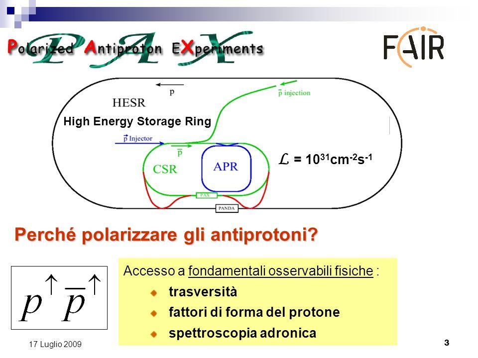 3 17 Luglio 2009 Accesso a fondamentali osservabili fisiche : trasversità fattori di forma del protone spettroscopia adronica High Energy Storage Ring