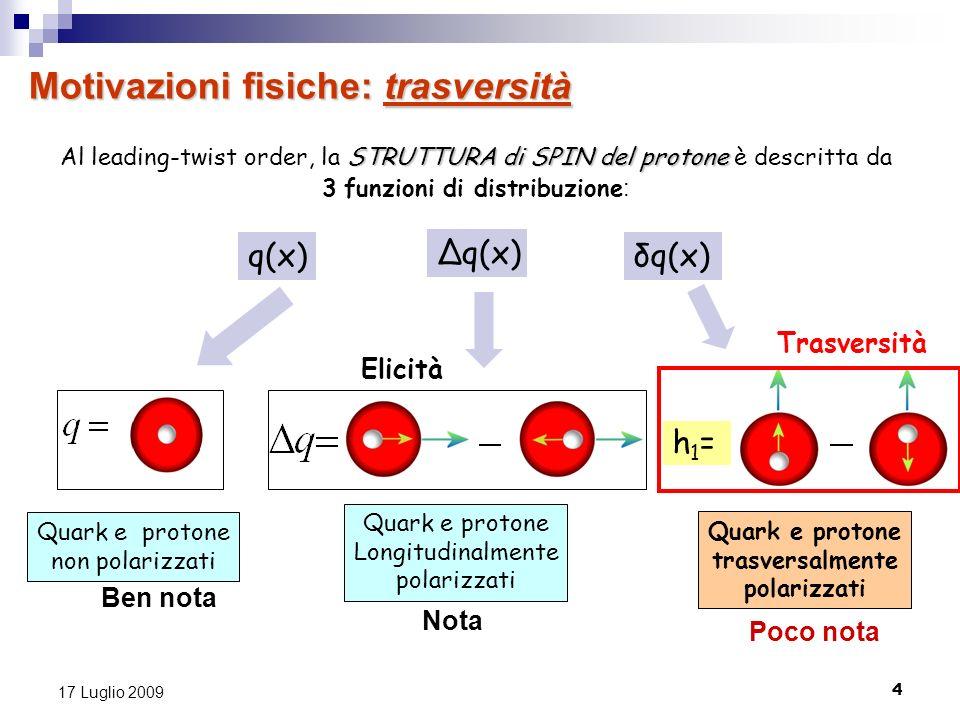 4 17 Luglio 2009 Motivazioni fisiche: trasversità h1=h1= Quark e protone trasversalmente polarizzati Quark e protone Longitudinalmente polarizzati Qua