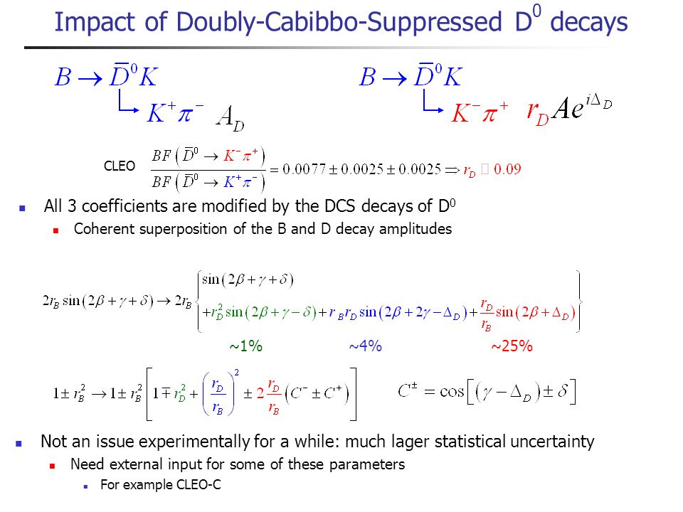 Time-dependent decay rates Similar to D* distribution r expected to be large Linear dependency on r: can be measured in the fit ( ) Tag-side DCS effects are small compared to signal amplitude But there are other potential complications due to DCS decays on reco side One solution: sin 2 ( ) The other one: cos