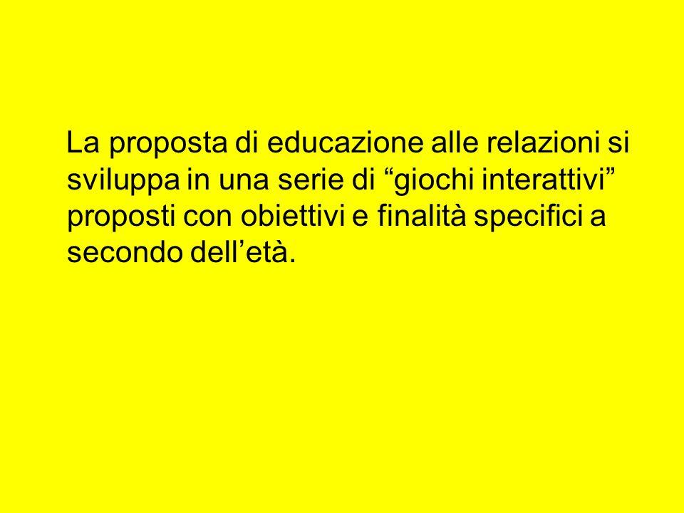 La proposta di educazione alle relazioni si sviluppa in una serie di giochi interattivi proposti con obiettivi e finalità specifici a secondo delletà.