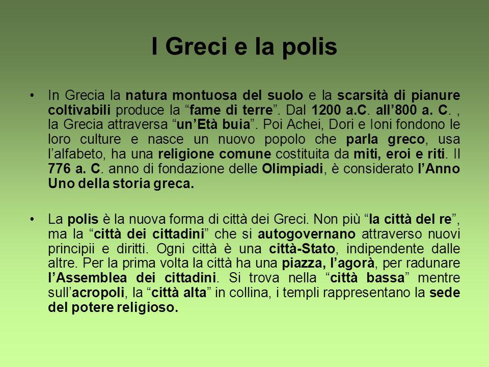 I Greci e la polis In Grecia la natura montuosa del suolo e la scarsità di pianure coltivabili produce la fame di terre. Dal 1200 a.C. all800 a. C., l
