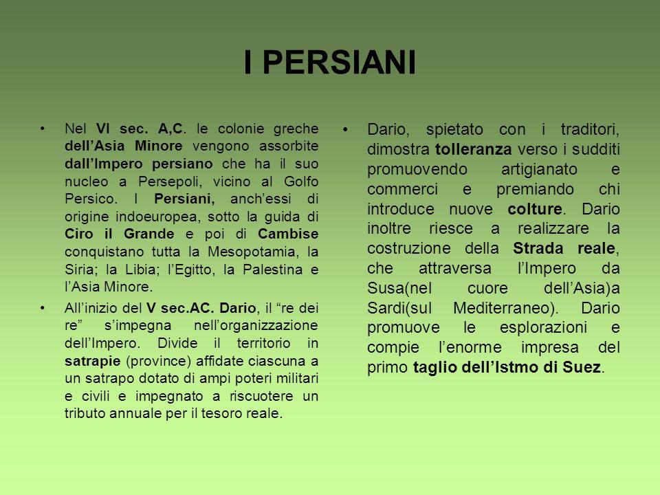 I PERSIANI Nel VI sec. A,C. le colonie greche dellAsia Minore vengono assorbite dallImpero persiano che ha il suo nucleo a Persepoli, vicino al Golfo