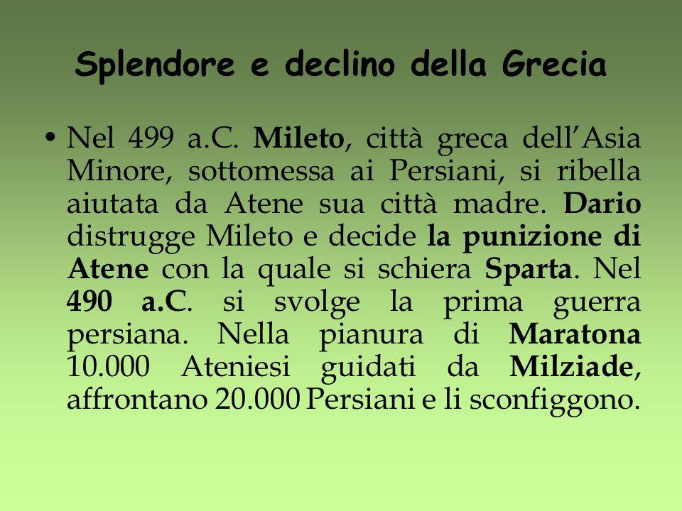 Splendore e declino della Grecia Nel 499 a.C. Mileto, città greca dellAsia Minore, sottomessa ai Persiani, si ribella aiutata da Atene sua città madre