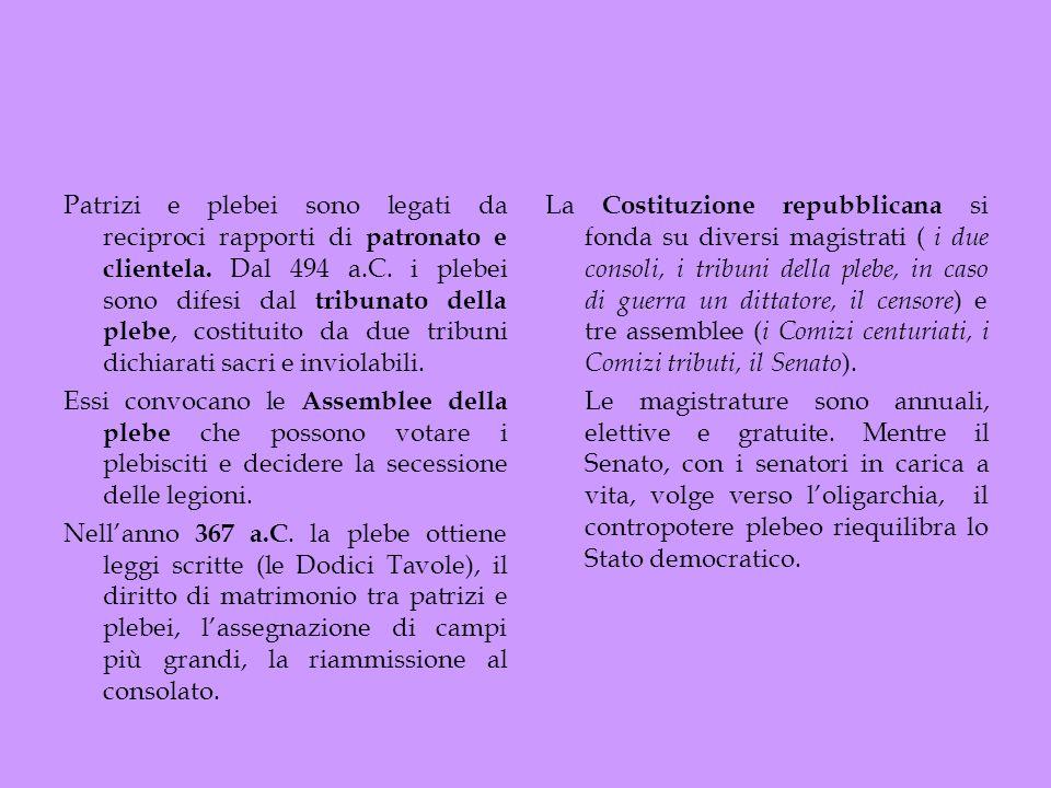 Patrizi e plebei sono legati da reciproci rapporti di patronato e clientela. Dal 494 a.C. i plebei sono difesi dal tribunato della plebe, costituito d