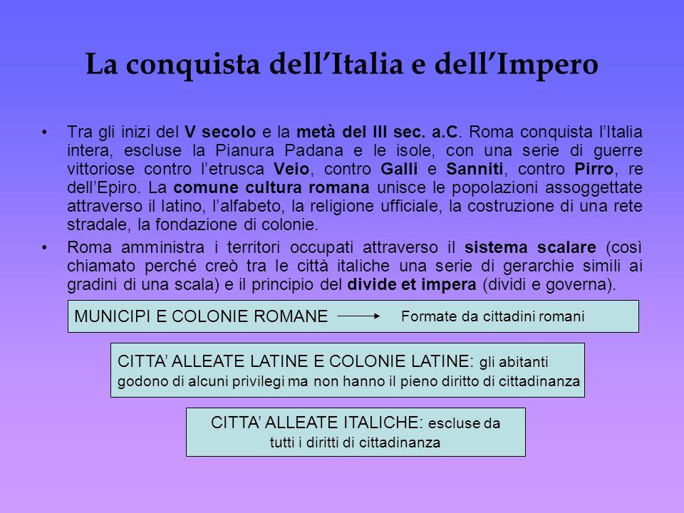 La conquista dellItalia e dellImpero Tra gli inizi del V secolo e la metà del III sec. a.C. Roma conquista lItalia intera, escluse la Pianura Padana e