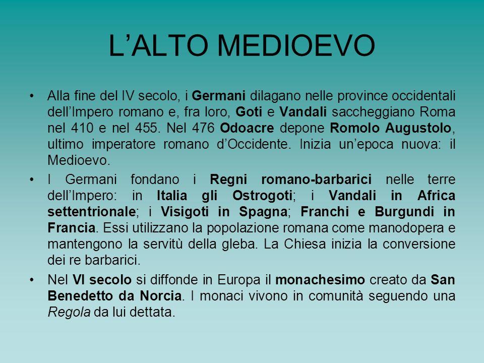 LALTO MEDIOEVO Alla fine del IV secolo, i Germani dilagano nelle province occidentali dellImpero romano e, fra loro, Goti e Vandali saccheggiano Roma