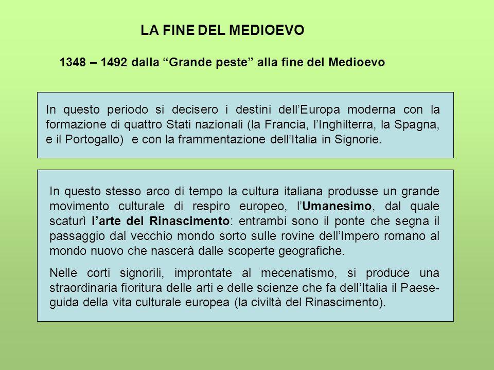 LA FINE DEL MEDIOEVO 1348 – 1492 dalla Grande peste alla fine del Medioevo In questo periodo si decisero i destini dellEuropa moderna con la formazion