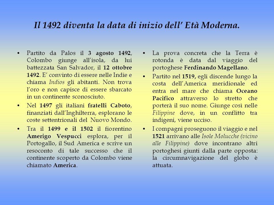Il 1492 diventa la data di inizio dell Età Moderna. Partito da Palos il 3 agosto 1492, Colombo giunge allisola, da lui battezzata San Salvador, il 12