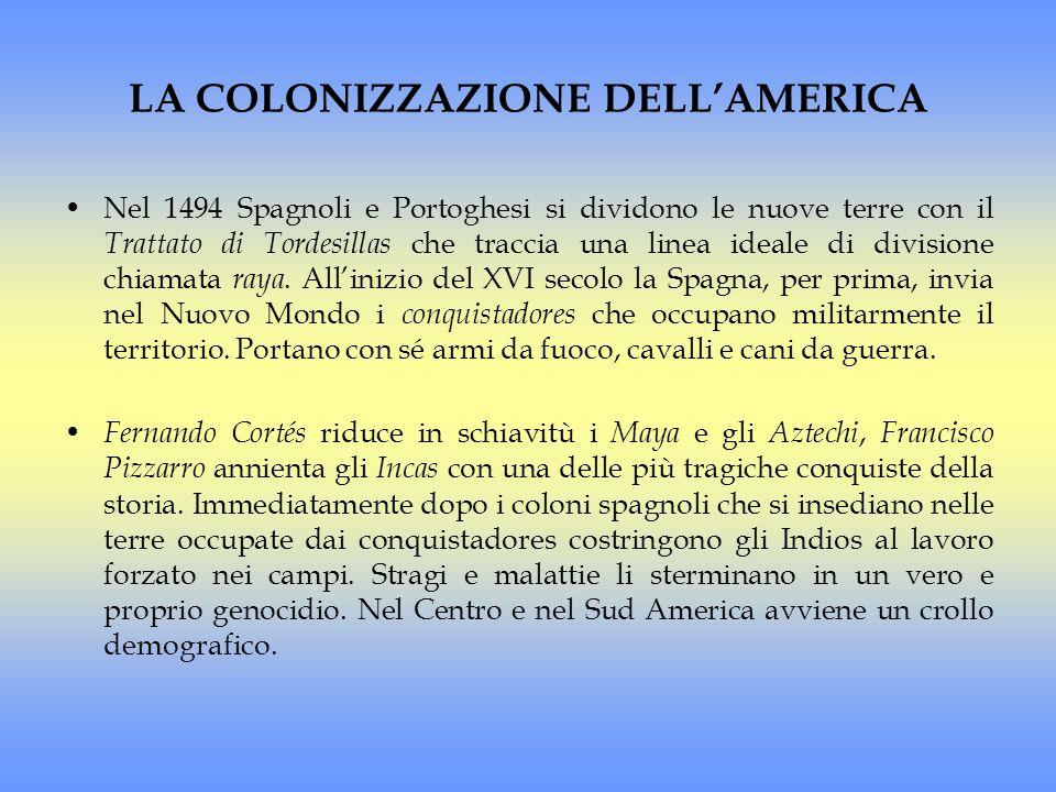 LA COLONIZZAZIONE DELLAMERICA Nel 1494 Spagnoli e Portoghesi si dividono le nuove terre con il Trattato di Tordesillas che traccia una linea ideale di