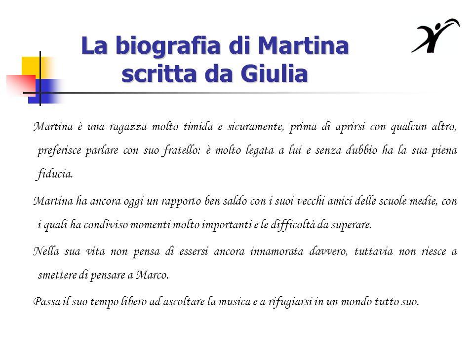 La biografia di Martina scritta da Giulia Martina è una ragazza molto timida e sicuramente, prima di aprirsi con qualcun altro, preferisce parlare con suo fratello: è molto legata a lui e senza dubbio ha la sua piena fiducia.