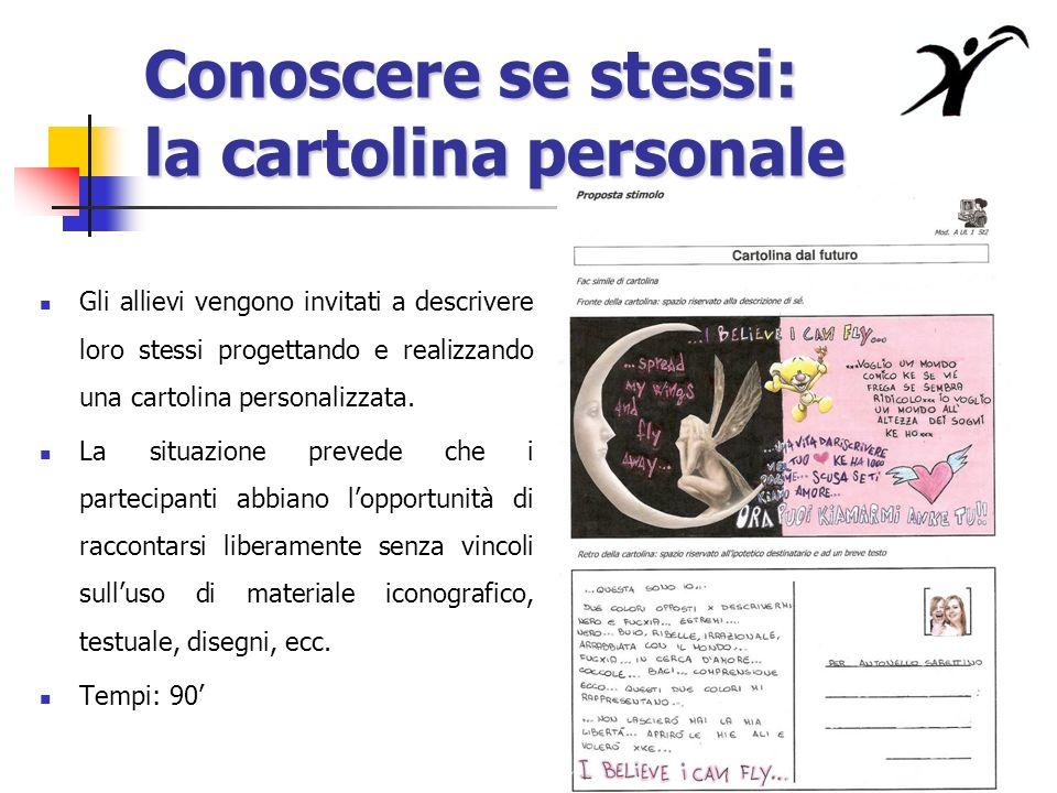Conoscere se stessi: la cartolina personale Gli allievi vengono invitati a descrivere loro stessi progettando e realizzando una cartolina personalizzata.