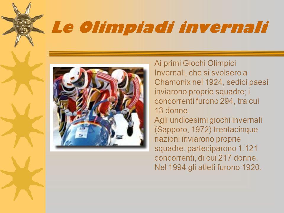 Le Olimpiadi invernali Ai primi Giochi Olimpici Invernali, che si svolsero a Chamonix nel 1924, sedici paesi inviarono proprie squadre; i concorrenti