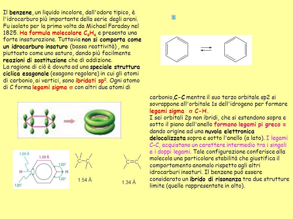 Il benzene, un liquido incolore, dall'odore tipico, è l'idrocarburo più importante della serie degli areni. Fu isolato per la prima volta da Michael F