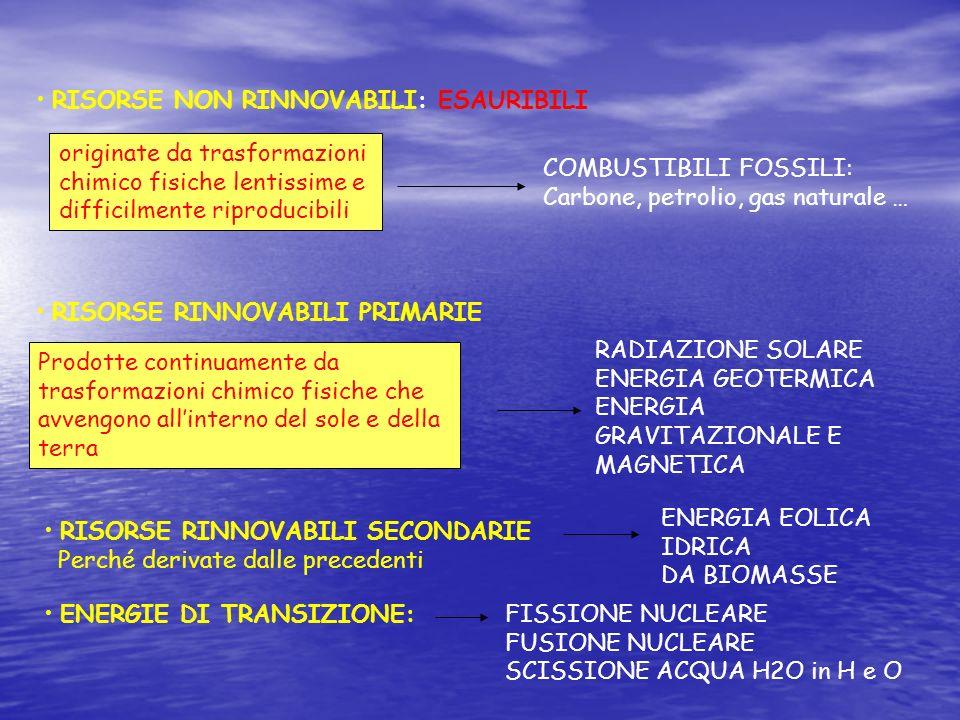 RISORSE NON RINNOVABILI: ESAURIBILI originate da trasformazioni chimico fisiche lentissime e difficilmente riproducibili COMBUSTIBILI FOSSILI: Carbone