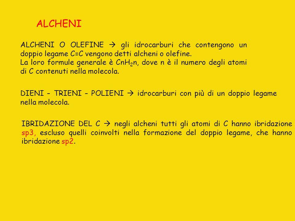 ALCHENI ALCHENI O OLEFINE gli idrocarburi che contengono un doppio legame C=C vengono detti alcheni o olefine. La loro formule generale è CnH 2 n, dov