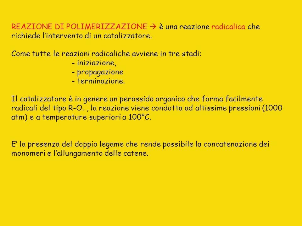 REAZIONE DI POLIMERIZZAZIONE è una reazione radicalica che richiede lintervento di un catalizzatore. Come tutte le reazioni radicaliche avviene in tre