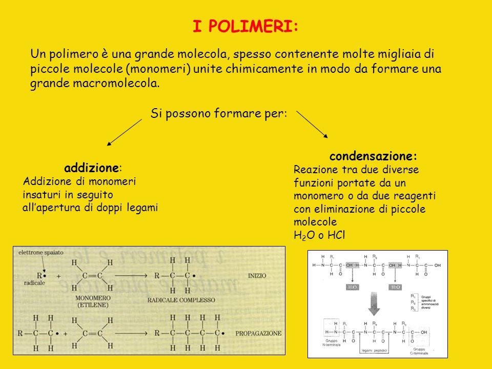 I POLIMERI: Un polimero è una grande molecola, spesso contenente molte migliaia di piccole molecole (monomeri) unite chimicamente in modo da formare u