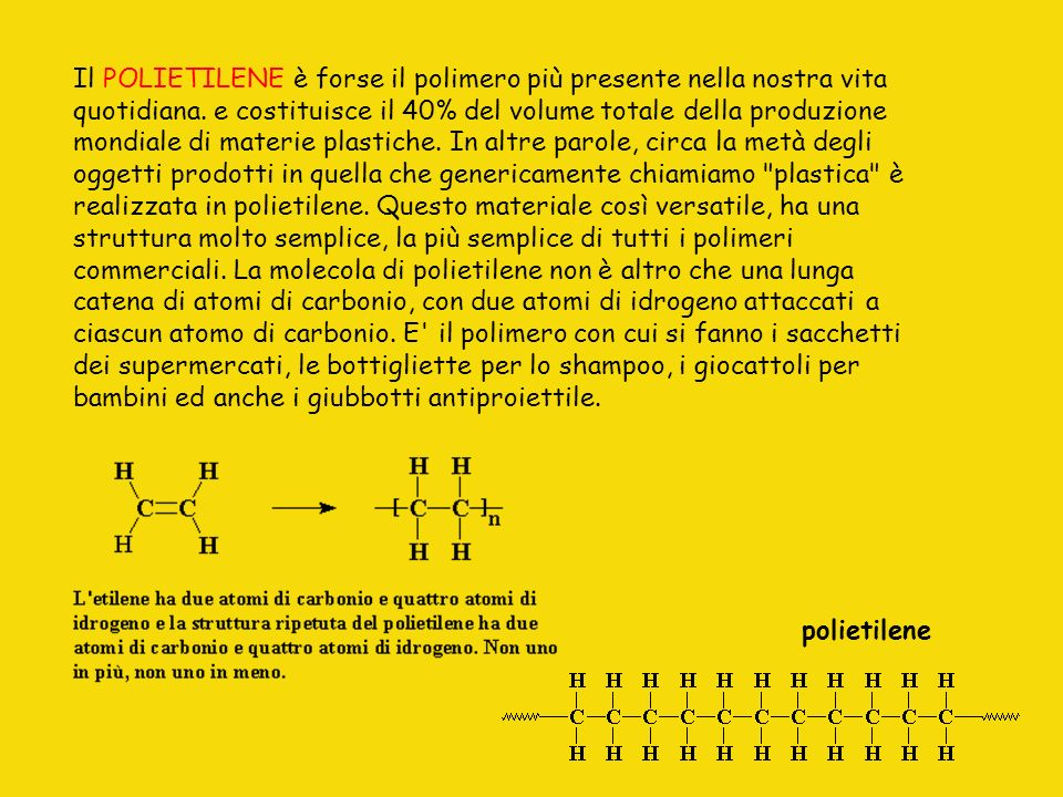 Il POLIETILENE è forse il polimero più presente nella nostra vita quotidiana. e costituisce il 40% del volume totale della produzione mondiale di mate