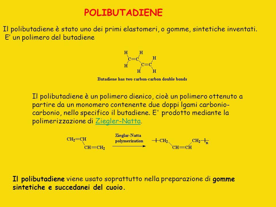 . POLIBUTADIENE Il polibutadiene è stato uno dei primi elastomeri, o gomme, sintetiche inventati. E un polimero del butadiene Il polibutadiene è un po