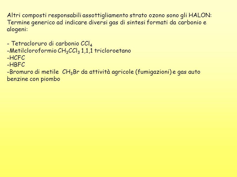Altri composti responsabili assottigliamento strato ozono sono gli HALON: Termine generico ad indicare diversi gas di sintesi formati da carbonio e al