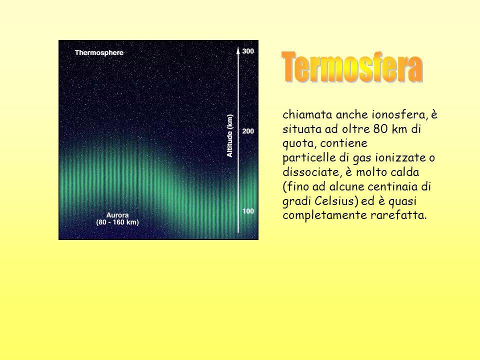 chiamata anche ionosfera, è situata ad oltre 80 km di quota, contiene particelle di gas ionizzate o dissociate, è molto calda (fino ad alcune centinai