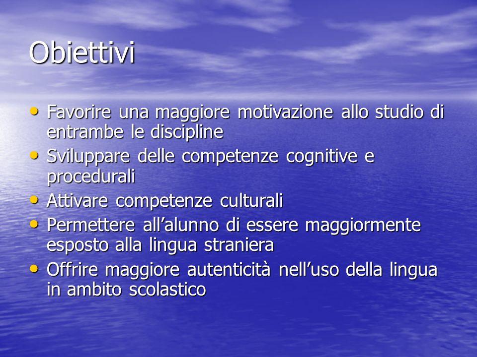 Obiettivi Favorire una maggiore motivazione allo studio di entrambe le discipline Favorire una maggiore motivazione allo studio di entrambe le discipl