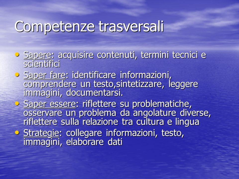 Competenze trasversali Sapere: acquisire contenuti, termini tecnici e scientifici Sapere: acquisire contenuti, termini tecnici e scientifici Saper far