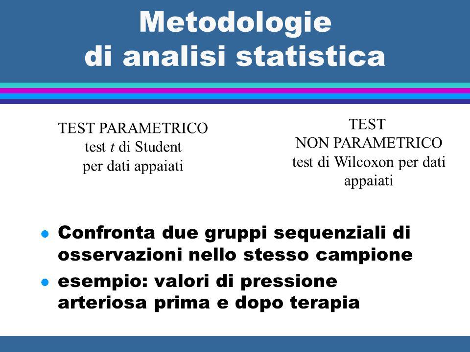 Metodologie di analisi statistica l Confronta due gruppi sequenziali di osservazioni nello stesso campione l esempio: valori di pressione arteriosa pr