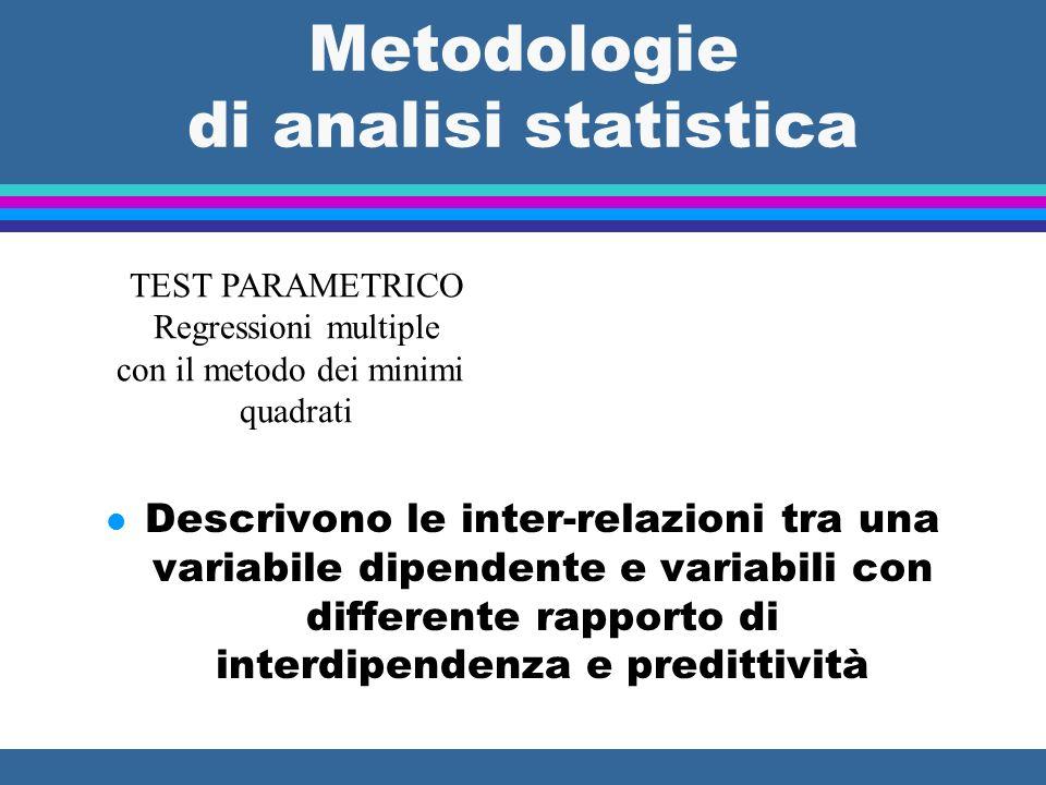 Metodologie di analisi statistica l Descrivono le inter-relazioni tra una variabile dipendente e variabili con differente rapporto di interdipendenza