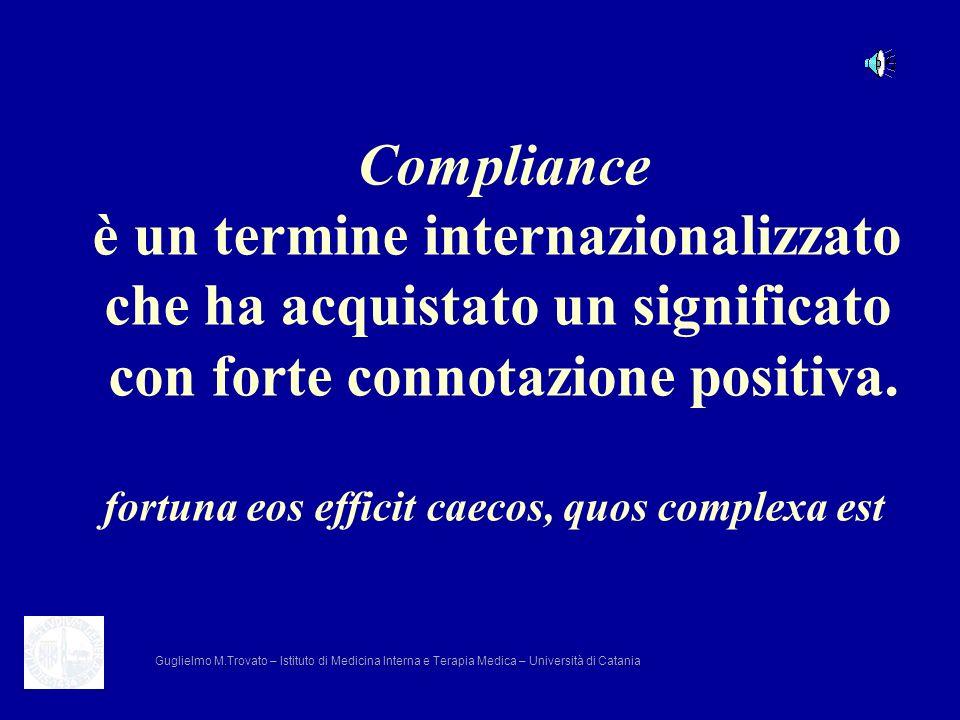 Compliance è un termine internazionalizzato che ha acquistato un significato con forte connotazione positiva. fortuna eos efficit caecos, quos complex