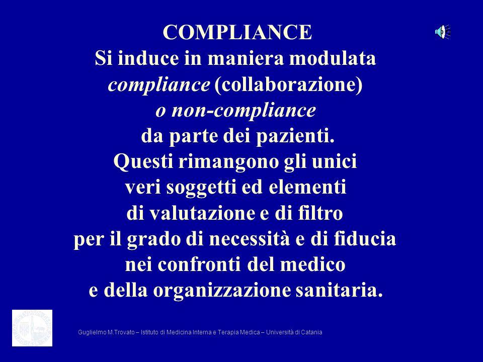 COMPLIANCE Si induce in maniera modulata compliance (collaborazione) o non-compliance da parte dei pazienti. Questi rimangono gli unici veri soggetti