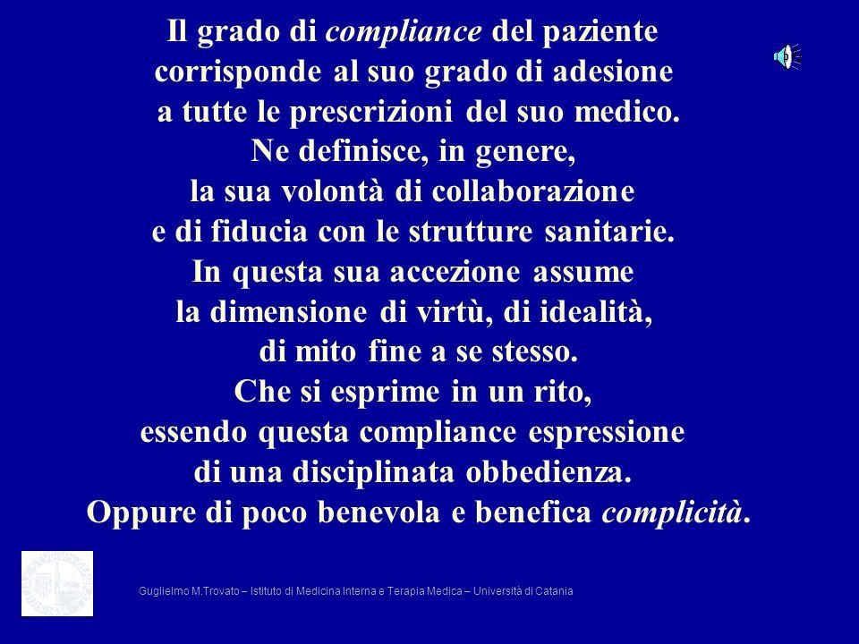 Il grado di compliance del paziente corrisponde al suo grado di adesione a tutte le prescrizioni del suo medico. Ne definisce, in genere, la sua volon