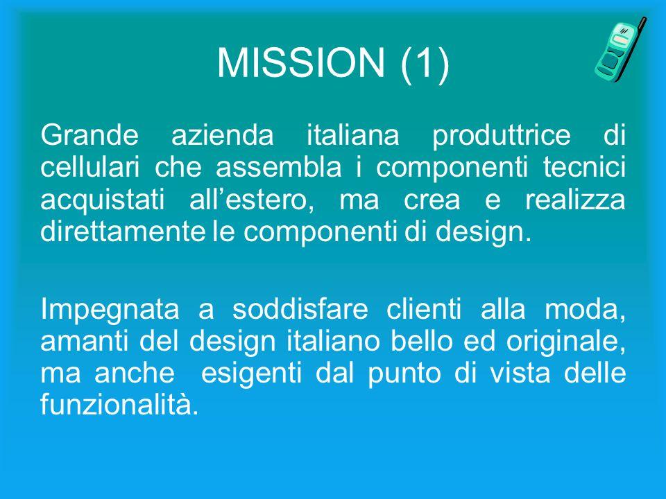MISSION (1) Grande azienda italiana produttrice di cellulari che assembla i componenti tecnici acquistati allestero, ma crea e realizza direttamente le componenti di design.