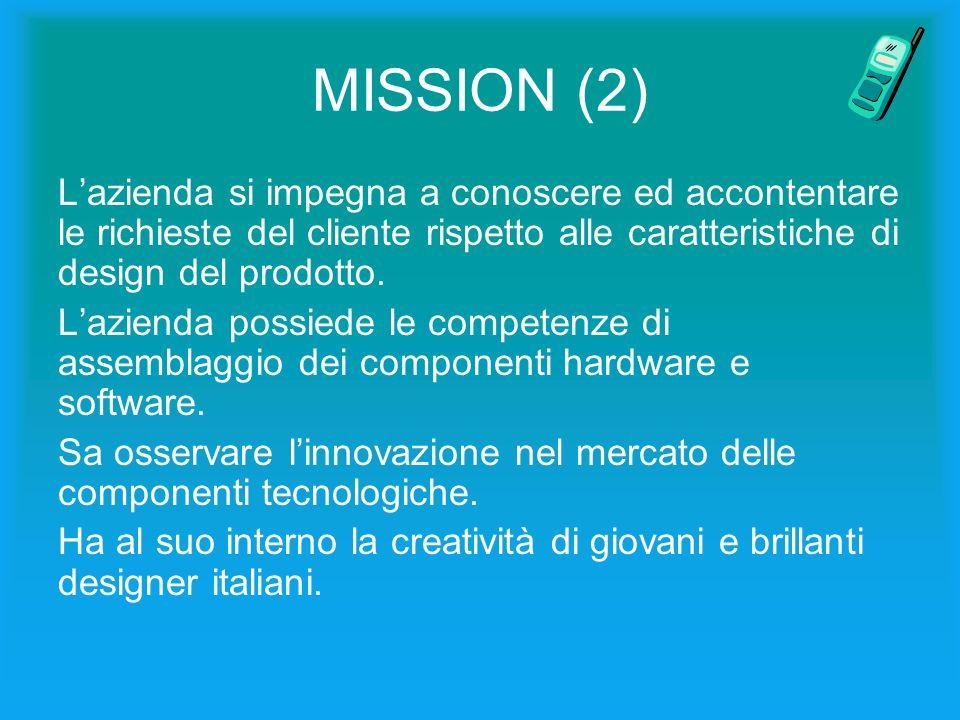 MISSION (2) Lazienda si impegna a conoscere ed accontentare le richieste del cliente rispetto alle caratteristiche di design del prodotto.