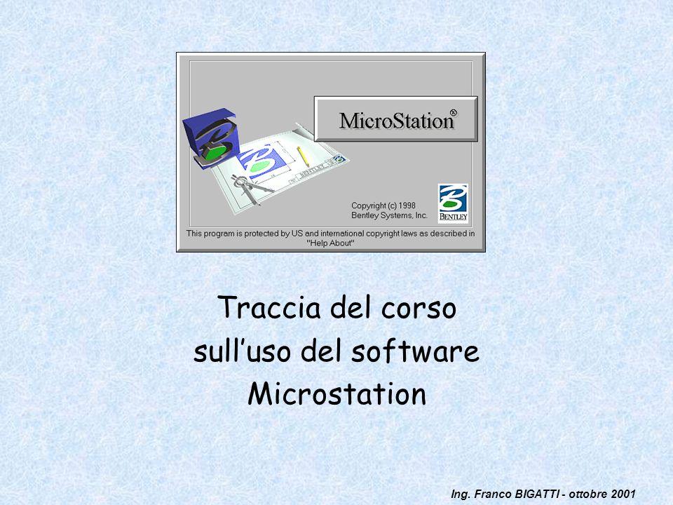 Ing. Franco BIGATTI - ottobre 2001 Traccia del corso sulluso del software Microstation