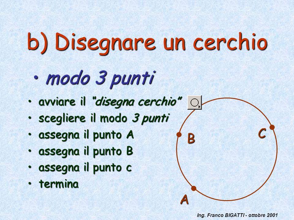 Ing. Franco BIGATTI - ottobre 2001 b) Disegnare un cerchio avviare il disegna cerchioavviare il disegna cerchio scegliere il modo 3 puntiscegliere il